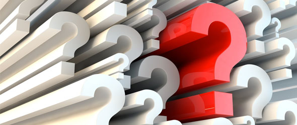 stop asking questions! picture of a wall of question marks.
