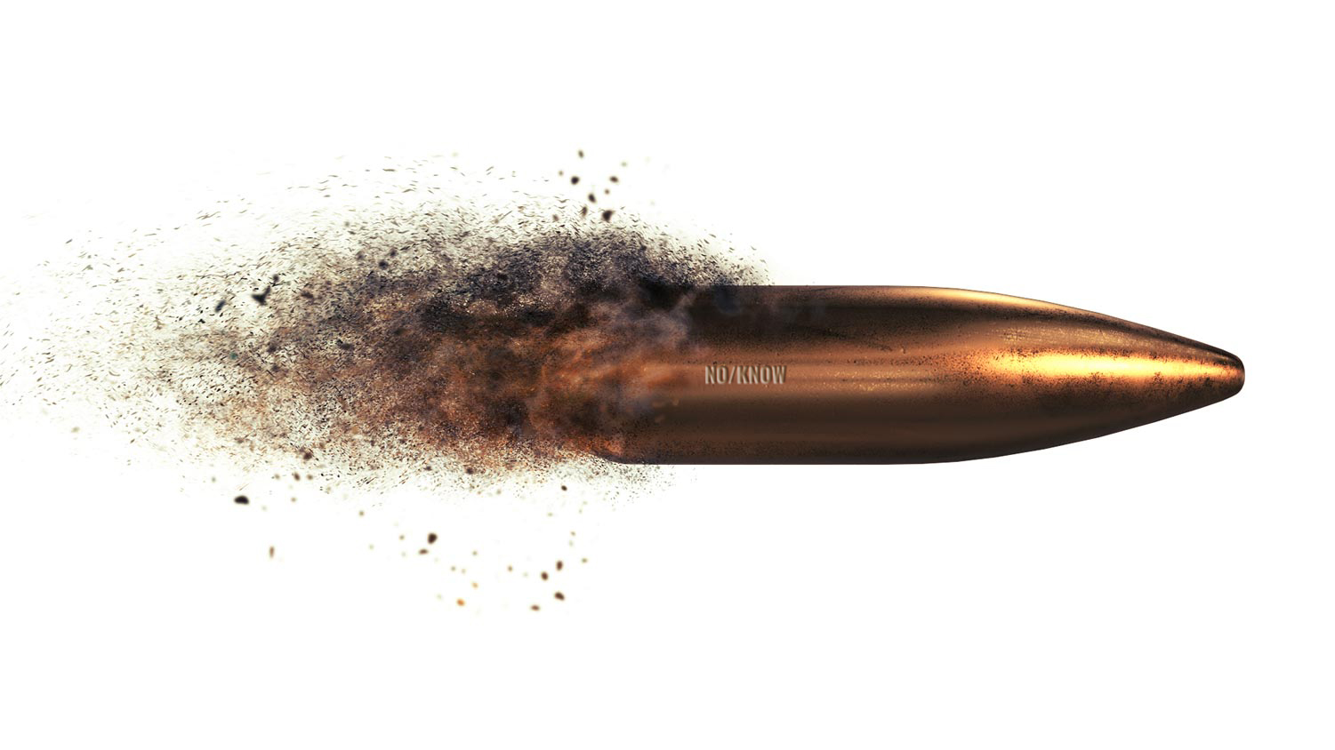 A bullet marked with two words, no and know, is flying through the air and photographed in slow motion